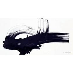 """Nino Mustica """"1996, Venerdì 26 Luglio""""-Quadro Astratto con Pennellate in Bianco e Nero, Stampa Fine Art su Tela Canvas"""