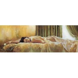 """Ron Di Scenza""""Quiet Moment"""" quadri moderni verdi e ocra con Donna Stesa, misure a scelta"""