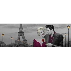 "Chris Consani""Paris Sunset""-Artistic Picture with Marilyn & Elvis Presley in Paris for Bedroom or Livingroom Decor"
