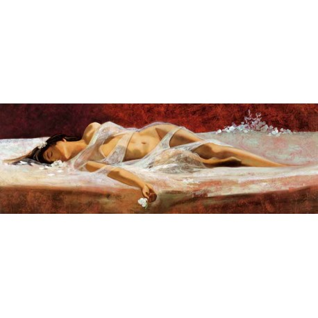 """Ron Di Scenza""""The Dream"""" quadri moderni camera letto con Donna Stesa tra le lenzuola, misure a scelta"""