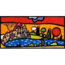 Sunset on the Lake, Wallas-modern colorful images with landscape of Lake-available 50x100cm or other measures