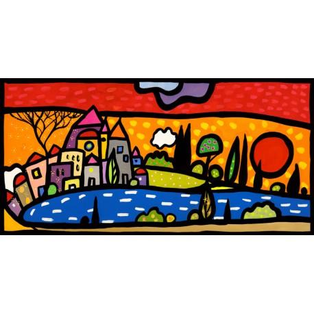 Tramonto sul Lago,Wallas-quadri moderni colorati con paesaggio di Lago cm50x100 o altre misure