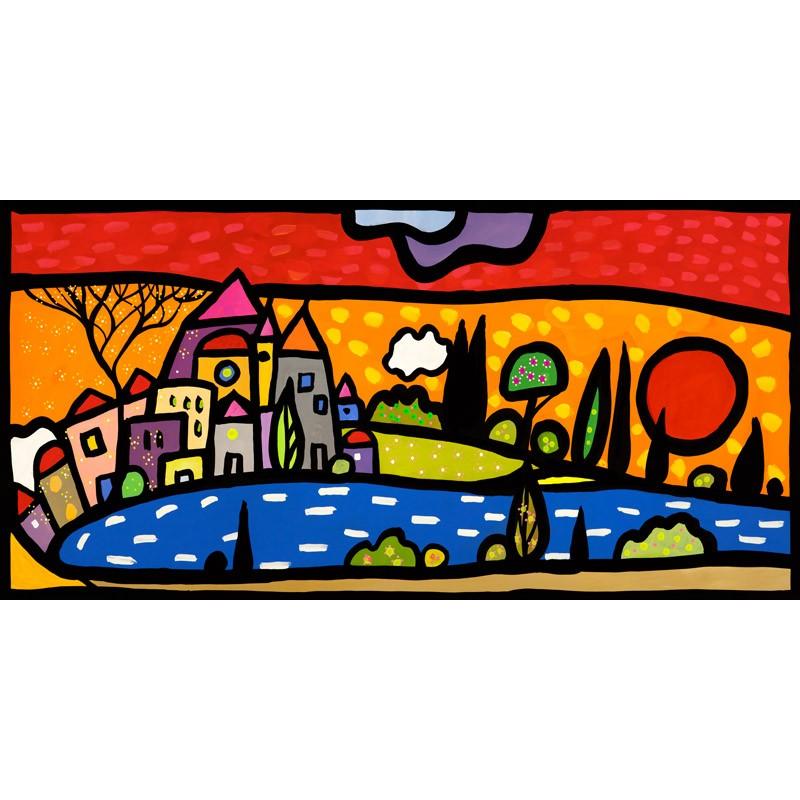 Tramonto sul Lago,Wallas-quadri moderni colorati con tramonto sul ...