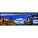 Island and Moon,Wallas-modern colorful picture with landscape and lighthouse-available 50x100cm or others