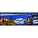 Isola e luna,Wallas-quadri moderni colorati con faro, romantico cm150x50 o altre misure