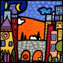 Il ponte del Paese,Wallas-modern colorful picture with landscape and bridge-available 100x100cm or others