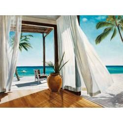 Jacob Reed, Sea Breeze1,Quadro moderno paesaggio con tende in prospettiva,effetto trompe l'oeil,misure varie
