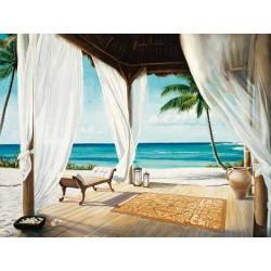 Jacob Reed, Sea Breeze 2,Quadro moderno paesaggio con tende in prospettiva,effetto trompe l'oeil,misure varie
