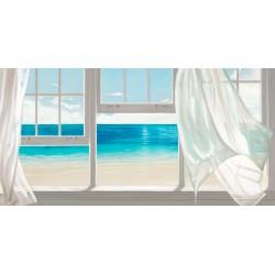 Emerald Seascape,Benson-quadro moderno finestre e tende per Soggiorno o Camera da Letto.Misure e supporti a Scelta
