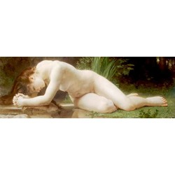 "Bougereau""Biblis""quadri classici di qualità verdi e ocra con Donna Stesa"