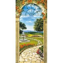 """Mannarini""""Giardino con fontana"""" quadri moderni verticali finestra per Scale su Canvas 50x100 o altro"""