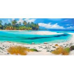 Tropical Paradise,Benson-quadro moderno finestre e tende per Soggiorno o Camera da Letto.Misure e supporti a Scelta