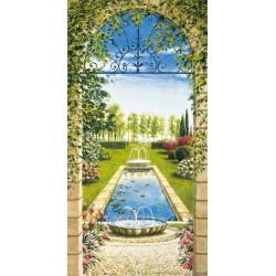"""Mannarini""""Giardino con ninfeo"""" quadri moderni verticali finestra per Scale su Canvas 50x100 o altro"""
