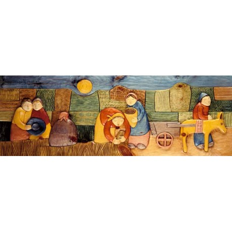 """Artica """"La Mietitura"""" quadri moderni naif, canvas su telaio 150 cm ed altre misure a scelta"""