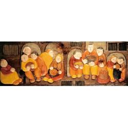 """Artica """"Borgo Medievale"""" quadri moderni naif canvas su telaio, 150 cm ed altre misure a scelta"""