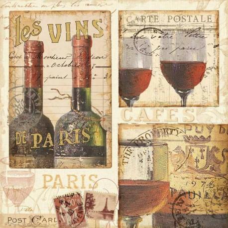 """Pela Studio""""French Cellar 1"""" quadri moderni cucina quadrati 70x70 e altre misure in stile shabby con vini"""