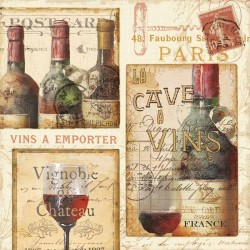 "Pela Studio""French Cellar 1"" .Author's stretched canvas print on 3cm high wooden frame with wines image"