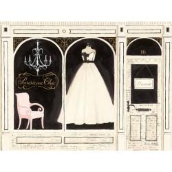 """Emily Adams""""Parisienne Chic"""",quadri moderni 2 tele o singoli, fashion con vestito sposa bianco e colori chiari"""