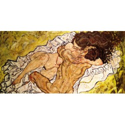Egon Schiele,The Embrace.Castom made classic masterpiece with naked couple figure for Bedroom Decor