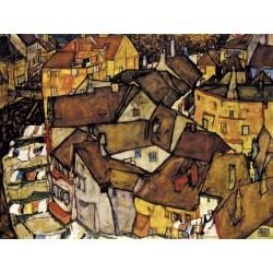 "Egon Schiele""Crescent of Houses, The Small City V""-quadri moderni famosi, 150x100 cm o altre misure a scelta"