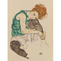 "Egon Schiele""Seated Woman""-quadri moderni donne, 150x100 cm o altre misure a scelta"