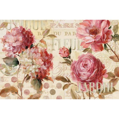 """Schlabach""""Le Jardin Printemps"""",Shabby-New Country style Stretched Canvas with roses"""