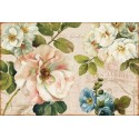"""Lisa Audit""""Les Jardin 1"""",Shabby-New Country style Stretched Canvas with savage white roses and mixed flowers"""
