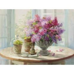 """Nai""""Lilacs Still Life"""",decorazione d'interni di design,canvas su telaio con fiori 150x100 e altre misure"""