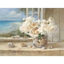 "Nai""By the Sea"",home decor Stretched Canvas with sea shells and white roses, 100x150cm or other sizes"