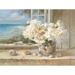 """Nai""""By the Sea"""",decorazione d'interni di design,canvas su telaio con rose bianche 150x100cm e altre misure"""