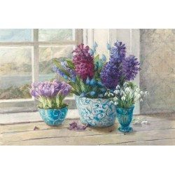 """Nai""""Scented Spring"""",decorazione d'interni di design,canvas su telaio con bulbi in fiore e giacinti"""