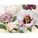 """Robinson""""Soft Petals 1"""" quadri moderni con fiori in viola e bianco, tela intelaiata"""