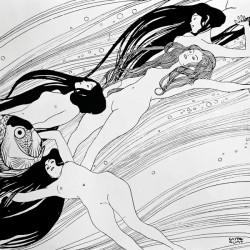 Gustav Klimt-Untitle Stampa Fine Art su Canvas Misure Multiple per Soggiorno o Camera