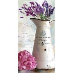"""Robinson""""Paris Bouquet 2"""" quadri con lavanda in verticale, tela pronta da appendere"""