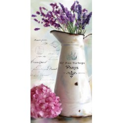 "Robinson""Paris Bouquet 2"" Vertical Lavender Canvas, 3cm high Stretched and ready to hung up"
