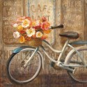 "Nai ""Meet me at Le Cafè 2"", 3cm high stretched canvas with romantic bicycle and flowers"