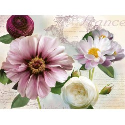 "Robinson""Soft Petals 2"", flowers Stretched Canvas in white and violet, multiple sizes"