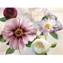 """Robinson""""Soft Petals 2"""" quadri moderni con fiori in viola e bianco, tela intelaiata"""