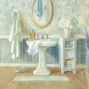 """Nai""""Victorian Sink 2"""", 3cm high stretched canvas with romantic bathroom"""