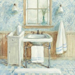 "Nai""Victorian Sink 1"", 3cm high stretched canvas with romantic bathroom"