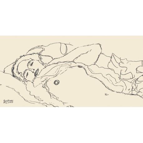 """Klimt patterns """"Reclined Woman"""" - Quadro per Camera da Letto in Misure Multiple"""