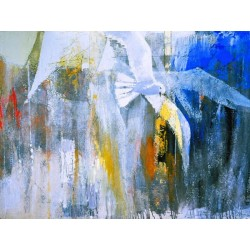 """Enzo Archetti""""Il Volo"""",quadro con gabbiani, quasi astratto con bianco,blu e grigio"""