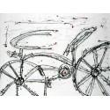 """Campins""""Ida y Vuelta"""",quadro moderno bicicletta, quasi astratto con bianco,nero e grigio"""