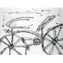 """Campins""""Ida y Vuelta"""" ready stretched Art picture with bicycle in black & white"""