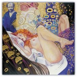 """""""Gustav Klimt-Il Pittore e la Modella""""Milo Manara.quadri di fumetti originali con Certificato di Autenticità"""