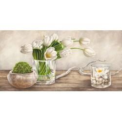 Remy Dellal, Arrangement with tulips-quadro floreale tulipani bianchi in stile shabby formati a scelta