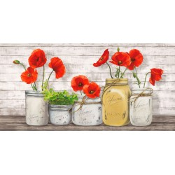 Jenny Thomlinson,Poppies in Mason Jars - high quality print on canvas or artistic paper