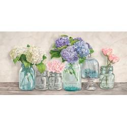 Jenny Thomlinson,Fiori nei Barattoli-quadro floreale in stile shabby 50x100cm o altre misure a scelta