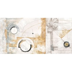 "Arturo Armenti""Vestigia"", abstract post modern pictures in total white and gold yellow"
