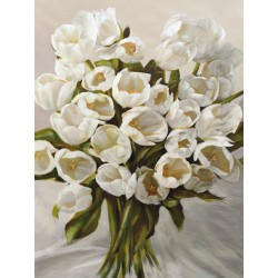 Leonardo Sanna - Bouquet Blanc. Quadro best seller d'Autore italiano con magnifico mazzo di tulipani bianchi